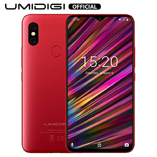 UMIDIGI F1 Android 9.0 Smartphone ohne Vertrag (128GB großer Speicher, 5150 großer Akku, 16 cm(6.3 Zoll) FHD+ Waterdrop Full Screen, Globale Version, NFC Handy, 16MP+8MP Dual Kamera) Rot