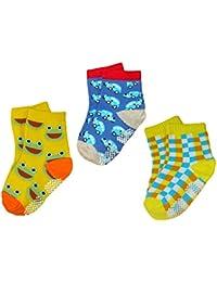 BOMIO | ABS Socken in farbenfrohem Design 3er Pkg. Jungen | Antirutsch Baby-Söckchen aus hautfreundlichem Material | Stoppersocken | Hervorragende Passform