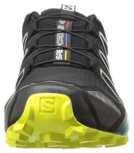 Salomon Speedcross 4, Chaussures de Trail Homme, Bleu Multicolore (Black/everglade/sulphur Sp)