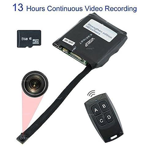 WISEUP 8GB Mini Caméra Espion 13 Heures Enregistrement Vidéo en Continu Détection de Mouvement