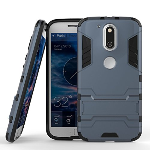 Anvika Graphic Designed Kick Stand Version 3.0 Hard Dual Rugged Armor Hybrid Bumper Back Case Cover For Moto G4 Play [G Play 4th Generation 4G] - Blue