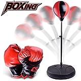WoBoSen Punching Punchingball Boxen set mit Boxhandschuhen & Pumpe für Kinder Jugend Erwachsene Stress HausTraining, Höhenverstellbar bis 70-105 cm,Boxhandschuhe, Pumpe, Leder, Metall (Rot und Schwarz)