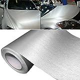 2XK-NOV 3D Blasenfrei Autofolie Carbon Vinyl Wrap Auto-Aufkleber für Auto & Motorrad, Laptops, Handys, PC-Gehäusen (Silber, 15CM*200CM)