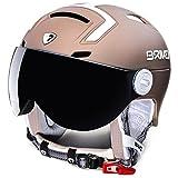 Briko Stromboli Visor 1V, Helm Ski Unisex Erwachsene, Unisex - Erwachsene, Stromboli Visor 1V, 947Ch01/Matt/Champagne