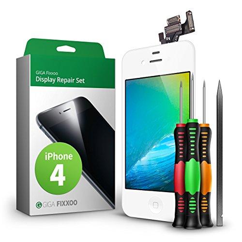 GIGA Fixxoo kompatibel mit iPhone 4 Komplettes Display Ersatz Set Weiß, LCD mit Touchscreen, Retina Display, Kamera & Näherungssensor - Einfache Installation für Do-It-Yourself