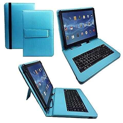 Qwertz Tastatur Tablet Tasche für TrekStor SurfTab Wintron 10.1 mit Standfunktion - Deutsche Tastenbelegung - 10 Zoll Türkis Tastatur