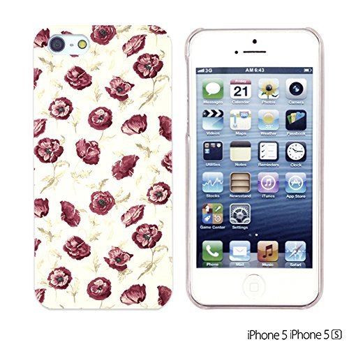 OBiDi - Flower Pattern Hardback Case / Housse pour Apple iPhone SE / Apple iPhone 5S / 5 - Colorful Flowers With Birds Small Red Rose Print