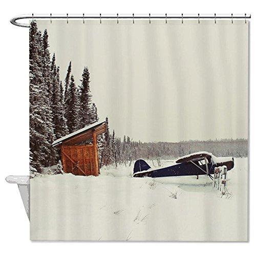 jesspad Stoff Duschvorhang Flugzeug Snow Tannen Polyester Badezimmer Dusche Vorhänge 182,9x 182,9cm