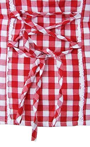 Trachtenbluse Bine - Schöne Karo Bluse im Carmen Stil für Damen zur Tracht Rot
