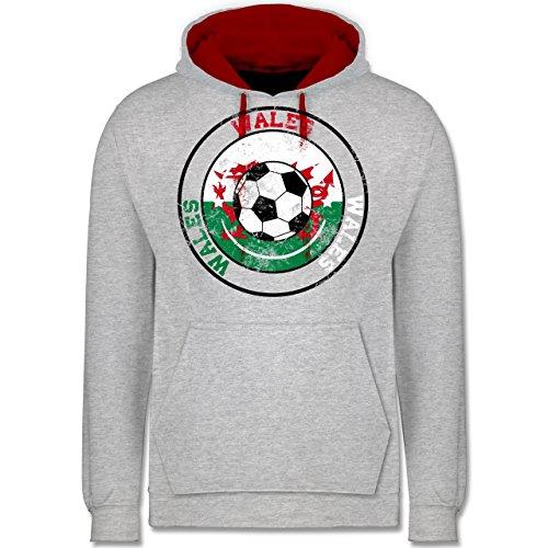 Fußball - Wales Kreis & Fußball Vintage - Kontrast Hoodie Grau Meliert/Rot