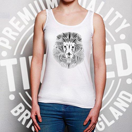 Fierce Geometric Lion Safari Einfarbige Wildlife Triangular Sommerweste White
