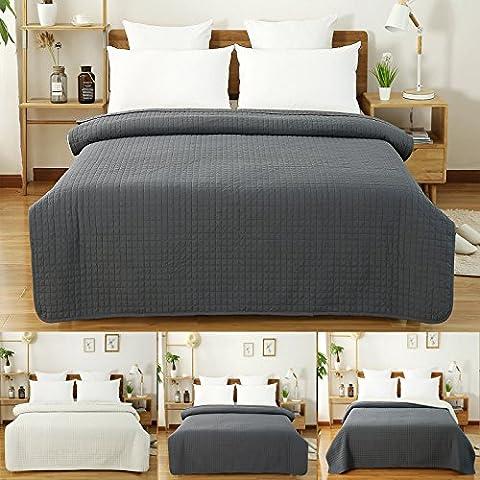 WOLTU® BWP5004gr2 Dessus de lit rembourré et matelassé couvre-lit Flannel double réversible 220x240cm,Gris