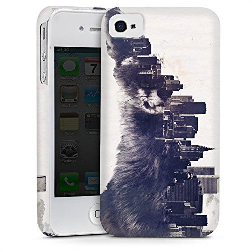 Apple iPhone 4 Housse Étui Silicone Coque Protection Renard Urban Ville Cas Premium mat