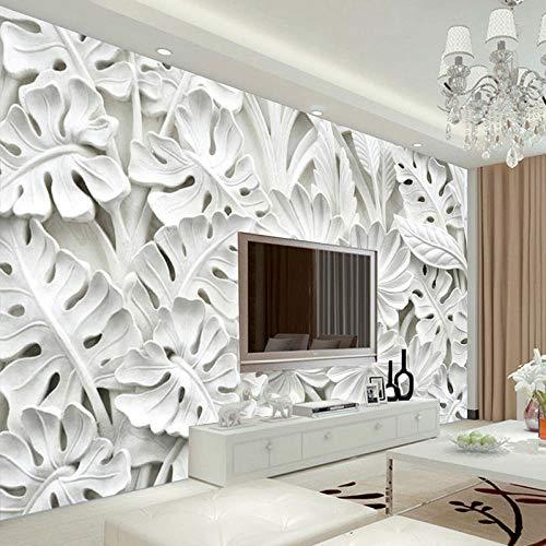 3D Stereoscopic Leaf Pattern Gips Relief Wandbild Tapeten Wohnzimmer TV Hintergrund Wandmalerei Tapeten Dekoration 350×245cm -