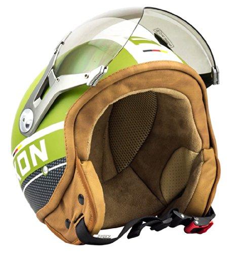 SOXON SP-325-PLUS Army · Piloto Bobber Casco Demi-Jet Retro Vintage Urban Chopper Vespa Scooter Urbano Biker Moto motocicleta Helmet Cruiser Mofa · ECE certificado · incluyendo parasol · incluyendo bolsa de casco · Verde · XL (61-62cm)