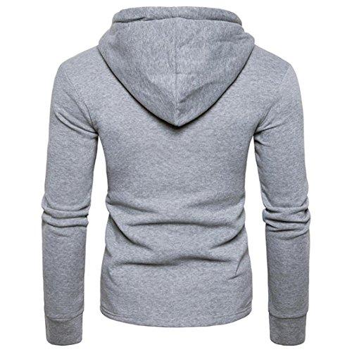 Bluestercool Hoodie Felpe Uomo Felpa Lunga Uomo Con Cappuccio Elegante Pullover Cotone Sweatshirt Grigio