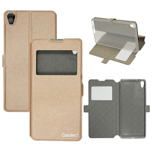 Casotec Premium Kickstand Caller-id Flip Case Cover with Snap Button Closure for Sony Xperia XA - Gold  available at amazon for Rs.349