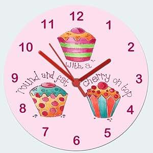 Fille Horloge, pendule en forme de Cupcake Girl's Cadeau.