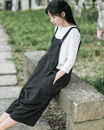 Aeneontrue Femme Salopette Coton Lin Casual Large Ample Combinaison Jumpsuit Harem Sarouel Pantalon Romper Noir