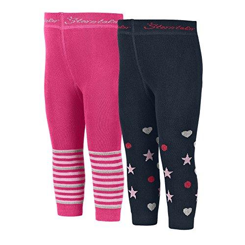 Sterntaler Doppelpack Mädchen Leggings, 2er Pack , Mit Herzen und Sternen, Größe: 86/92, Rosa (Magenta)/Blau (Mädchen Herz Leggings)