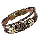 Weinlese-echtes Leder-Armband für Männer und Frauen, justierbares Armband-geflochtenes Armband, verwendbar für die meisten Leute