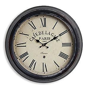 levandeo Wanduhr XXL 47cm aus Metall - Motiv: France Frankreich Café de la Gare Paris römische Ziffern - Kolonialstil Nostalgie Großuhr Bahnhofsuhr Metalluhr