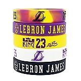 Lorh's store NBA Basket-Ball Lebron James Portrait Bracelet numéro 23 Silicone inspirant Mot Sport Bracelet 5 pcs (Los Angeles Lakers)
