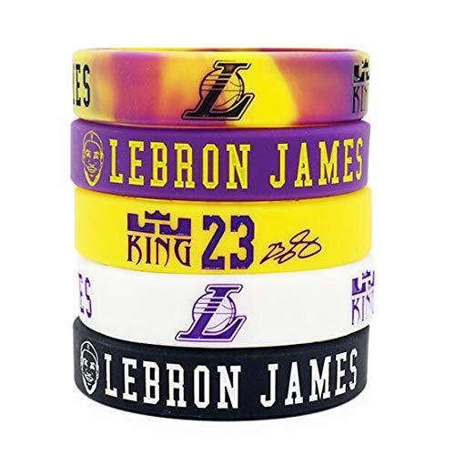 Lorh's store NBA Basketball Lebron James Porträt Armband Nummer 23 Silikon Inspirierende Wort Sport Schweißbänder 5 Pcs (Los Angeles Lakers)