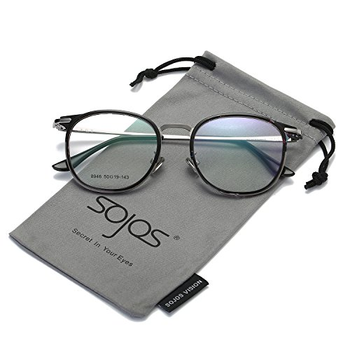 SOJOS Brille Damen Nerdbrille Wechselgläser Vintage Pantobrille Silikone Nasenpolster SJ5013 mit...
