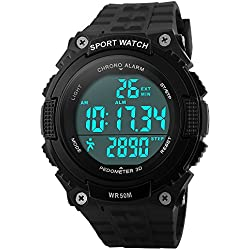 Bozlun Men's Digital Sports Watch with Pedometer Step Record 5ATM Waterproof LED Chronograph Stopwatch Wrist Watches for Men Boys