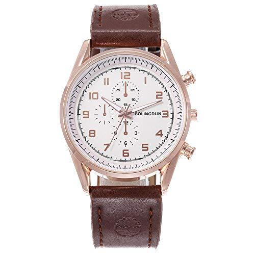 Powzz ornament Armbanduhren Urlaub DREI-Augen-Sportgürtel Armbanduhr Männer @ Braun -