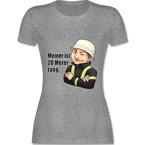 Feuerwehr - Feuerwehrmann - Meiner ist 20 Meter lang. - tailliertes Premium T-Shirt mit Rundhalsausschnitt für Damen Grau Meliert