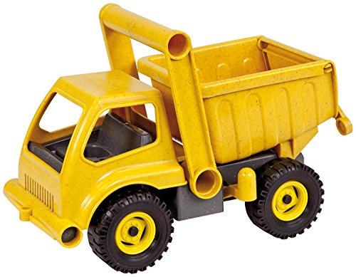 Lena 04210 - EcoActives LKW Kipper, ca. 27 cm, Baustellen Spielfahrzeug für Kinder ab 2 Jahre, robuster Kipplaster mit verriegelbarer Kippmulde, natürlicher Holzgeruch durch ökologischen Holzanteil