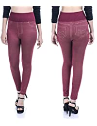 Timbre Women Denim Style Cassual Leggings Stretchable & Free Size (Red Colored)