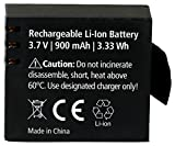 Rollei Battery AC - Accumulatore Ricaricabile Agli Ioni Di Litio (3,7 V /900 mAh) per Actioncam 372/510 / 610/525 / 625/540 - Nero