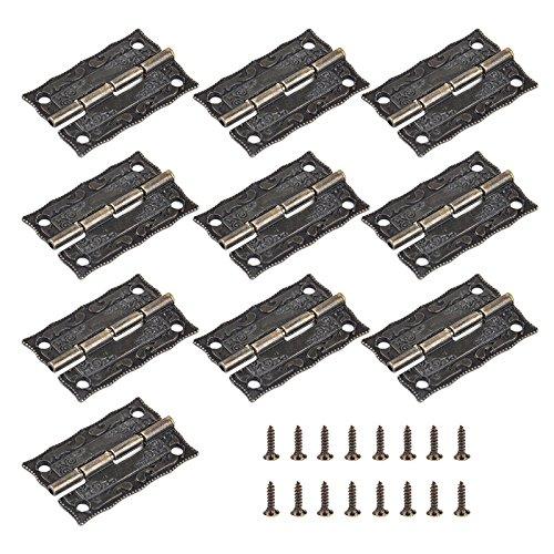 10 Stück Scharnier Messing für Schrank Schublade Holzmöbel Geschenk Box mit Schrauben -