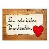 Große XXL Dankeskarte mit Umschlag / DIN A4 / Dankeschön Rustikal mit Herz / Dankeschön / Danke sagen / Danksagung