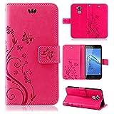 betterfon | Flower Case Handytasche Schutzhülle Blumen Klapptasche Handyhülle Handy Schale für Huawei Honor 6C Pro Pink