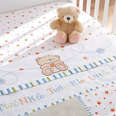 Forever Friends Little Star Printed 2 Pack Baby Boy Cot/Cot Bed Sheets, Izziwotnot