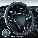 """Crystal Steering Wheel Cover,GES Univeral Rhinestone Diamond Leather Steering Wheel Set 15"""" Female Anti-skid Wheel Steering Wheel Cover + Key Start Ring (Black)"""