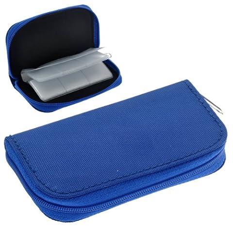 SODIAL(R) Portable 22 fentes Porte-carte SD SDHC MMC CF Micro Carte Memoire SD Poche Case Zippee Sac de rangement Protecteur (Bleu)