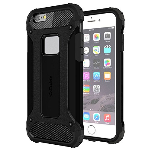 Cubix Tough Armor Slim Rugged Military-Grade Drop Tested Case Defense Shield Shock Resistant Hybrid Heavy Duty Back Cover Case for Apple iPhone 6 Plus (Black)