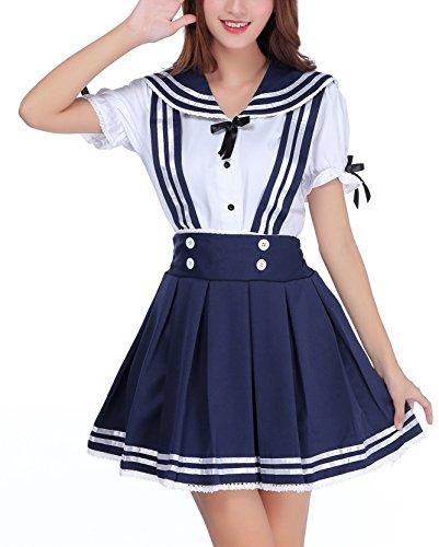 Beunique® Damen Cosplay Kostuem schwarz und weiß Magd Dienstmädchen Anzug Magd Cosplay Kleider