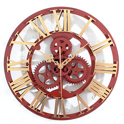 ierte Wanduhr Europäisches Retro 3D Ausrüstung Römische Ziffer Dekor Uhr Zum Wohnzimmer Schlafzimmer,Gold (Römisch-dekor)