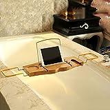 tougmoo antideslizante bambú bañera bandeja y bandeja bandeja de baño mano con accesorio de vino de lectura ajustable y soporte móvil soporte jcw49
