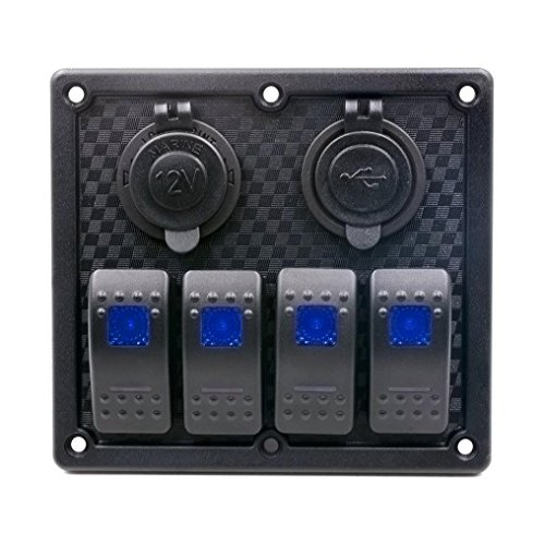 Auto Auto Boat Switch - Kingwo Voltmeter 6 Gang Touch Wasserdicht Auto Auto Boot Marine LED Panel Circuit Breakers 1 x Switch Panel, 1x Rahmen, 6 x Edelstahl Schraube