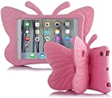 iPad Mini Kids Case, UCMDA Shockproof Drop Proof Children Butterfly Cover, Lightweight EVA Materail Protective Bumper with Stand for Apple iPad Mini 1/ 2/ 3/ 4 Tablet (7.9 Inch)- Pink