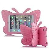 Coque iPad Mini pour enfants UCMDA en forme de joli papillon, coque résistante aux chocs protection pour enfant coque avec support pour Apple iPad mini 1/2/3/4(7,9'')–rose rouge iPad Mini 1/ 2/ 3/ 4 rose