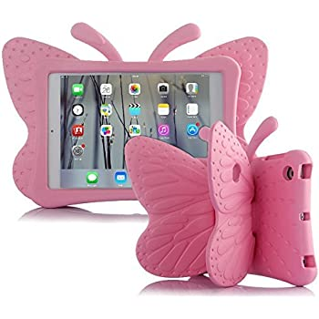 80db673161 UCMDA Case for iPad Mini 1/ 2/ 3/ 4, Shockproof Drop Proof Kids Butterfly Cover  Case(7.9 Inch)- Pink