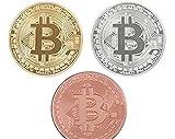 Bespoke Souvenirs 3Pcs/Set Bitcoin BTC Medal Gold/Sliver/ Copper Plated Steel Core Copy Coin Souvenir Metal Craft Dia 40mm